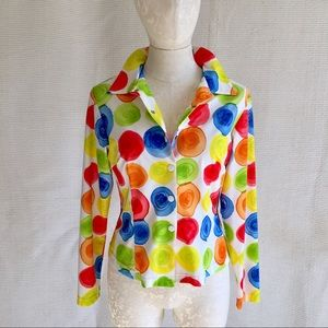 Vintage Top Clown Crayons Painter Stretchy Costume